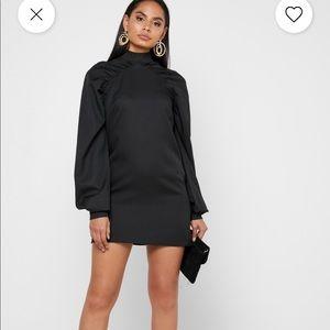 Missguided Cuff Sleeve High Neck Mini Dress Black
